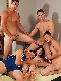 Five lovely guys made a real gay orgy